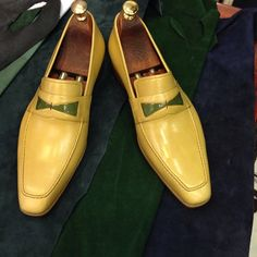 Handmade Special Design Luxury Yellow Mens Shoes by UstabasShoes, $389.00