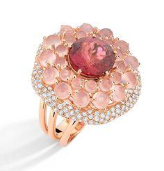 Brumani 'Baobab Rose' ring in rose gold with diamonds, rose quartz and pink tourmaline.