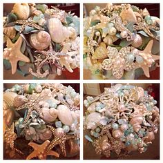 Brooches and sea shell bouquet, beach wedding, vow renewal