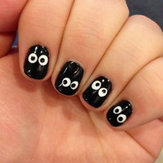 For my little ladies' tootsies - Halloween Nail Art: Spooky Night Time Eyes from Spoonful - would also be cute in silly monster colors.