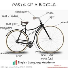 Parts of a bicycle, vocabulary, study, english, new, words, bicycle
