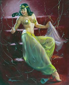 """Gil Elvgren    Nothing like a costume party to have an excuse to wear the kind of outfit she has on. And I have to say it does her justice, or is it the other way around. This painting is known as """"Did You Recognize Me By My Voice?"""" Lucky would be the guy who could honestly say no, I recognized you by your best attributes."""
