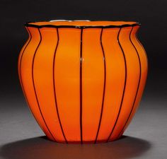 MICHAEL POWOLNY (1871-1954) VASE, um 1915 Oranges Glas mit s