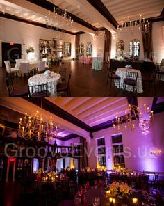 Amazing before / after pictures with lighting & decor by GrooveEvents.us at Alden Castle in Brookline, MA
