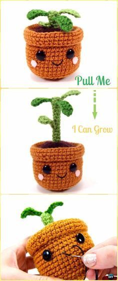 Crochet Pull and Grow Amigurumi Plant Free Pattern - Crochet Plant Free Patterns