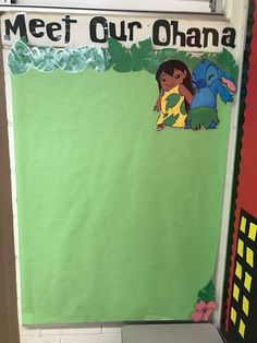 Lilo and Stitch board Disney Bulletin Boards, Class Bulletin Boards, Preschool Bulletin Boards, Preschool Birthday Board, Family Board Preschool, Classroom Birthday Board, Toddler Bulletin Boards, September Bulletin Boards, Preschool Door