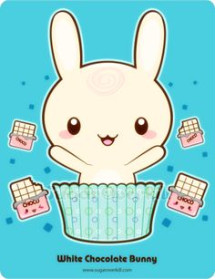 A happy white chocolate truffle bunny.