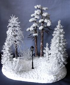 The Chronicles of Narnia --idea for Jack's diorama Diy Christmas Decorations, Christmas Crafts, Christmas Ornaments, French Beaded Flowers, Wire Flowers, Bead Crafts, Diy And Crafts, Wire Trees, Tree Sculpture
