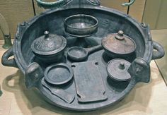 Etruscan model brazier set, Penn Museum  6th century BC. Made from bucchero pottery. Typically used in graves.