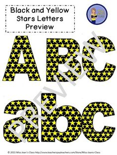 Clip Art Letters with Punctuation- Black With Yellow Stars Upper And Lowercase Letters, Lowercase A, Word Walls, Punctuation, Black N Yellow, Bulletin Boards, Art Images, Lesson Plans, Fonts