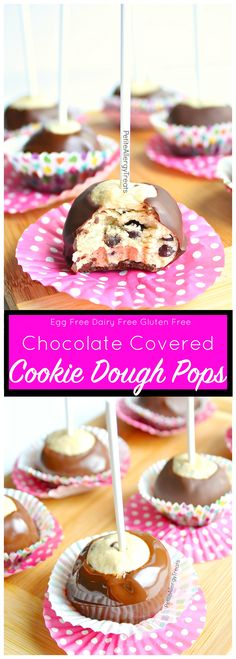 Gluten Free Vegan Cookie Dough Pops Recipe no bake ( dairy free) These chocolate covered cookie dough bombs are an easy no bake dessert. Food allergy friendly recipe