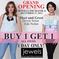 It's the Grand Opening of JEWELS! Get the chance to meet and greet Devon Seron, Eda Nolan and many more. Visit Jewels at the 3rd level of SM City Manila #smcitymanil #jewels #fashion