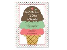 Ice Cream Cone Birthday Invitations - Colors can be changed for a boy or girl ice cream party. Perfect since the weather is getting warmer. Or Bridal Shower.