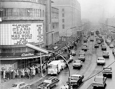 Sunday crowds in Toronto outside Odeon Theatre, circa April Photographer: Reg Innell Toronto Ontario Canada, Toronto City, Canadian History, Canadian Culture, Local History, American History, Nostalgia, Yonge Street, Cinema