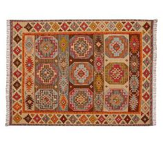 Karter Kilim Rug #potterybarn  For Dining Room?  Great price, spicy colors, global travel feel (like you bought it on vaca).