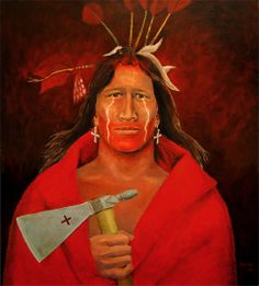 American Indian Portrait Artists | Leif Bakka - American Indian Portrait Painting - Iron Tomahawk