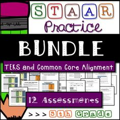 **STAAR Test Prep Bundle -12 Assessments - All 5th Grade TEKS - 20% Discount**This bundle combines all of my 5th Grade STAAR Practice Pre-Post Assessments into one bundle. There are 12 assessments that address all of the Grade 5 assessed Math TEKS. Assessments are 10 questions each and each section contains 2 assessments.