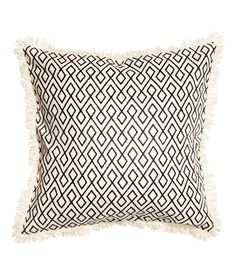 Check this out! Cushion cover in cotton-weave fabric with a printed pattern, fringe trim, and concealed zip. - Visit hm.com to see more.