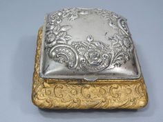 Vintage Silver & Gold Metal Jewelry Box by UrbanRenewalDesigns