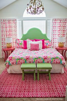 Such a colorful bedroom inspiration. The bright, strong pinks and greens really give a positive and happy vibe to the room. www.bocadolobo.com #bocadolobo #luxuryfurniture #exclusivedesign #interiodesign #designideas #bedroomdecorideas #pink #green