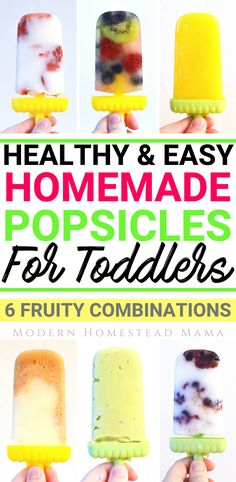 Homemade Popsicles For Toddlers Fruity Combinations) - Modern Homestead Mama Healthy Homemade Popsicles For Toddlers Fruity Combinations) Home Made Popsicles Healthy, Healthy Popsicle Recipes, Homemade Popsicles, Healthy Snacks For Kids, Baby Food Recipes, Homemade Toddler Snacks, Healthy Homemade Snacks, Toddler Recipes Healthy, Healthy Toddler Lunches