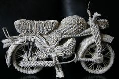 Motorcycle by 3D Origami. Bookart by Herline.