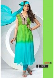 DESIGNER AQUA BLUE AND GREEN VISCOS SALWAR SUIT BY VENDORVILLA