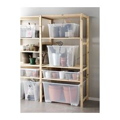 IKEA - SAMLA, Box with lid, 22 gallon, , The box is made of transparent plastic so you can quickly and easily find what you need.The lid protects the contents and makes the box stackable. Storage Bin Shelves, Ikea Storage, Garage Storage Cabinets, Garage Organization, Closet Storage, Storage Boxes, Storage Spaces, Shelving, Extra Storage