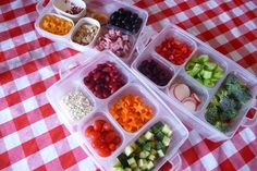 DIY home salad bar(maybe use a set of Easy Lunchboxes?)