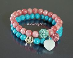 Coral turquoise pave bracelet Peace love yoga by EmpathyGifts, €22.50