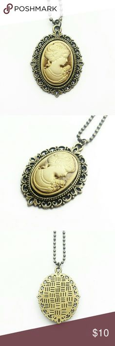"Faux Cameo Necklace 30% OFF ALL BUNDLES OFFERS WELCOME  Faux cameo necklace, bronze tone metal. Chain is 19"", pendant is 1"" x 2"". Jewelry Necklaces"