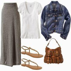 Grey Maxi with Denim Jacket great casual outfit Look Fashion, Autumn Fashion, Fashion Outfits, Womens Fashion, Fashion News, Latest Fashion, Fashion Trends, Fashion Skirts, Nail Fashion