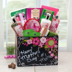 Spa Gift Box with Exotic Lily Give Mom the royal treatment by sending Happy Mothers Day Spa Gift Box with Exotic Lily! Using a sophisticated and subtle blend of natural Asian spices and lilies, our Ex Mothers Day Spa, Mothers Day Baskets, Gift Baskets For Women, Mother's Day Gift Baskets, Diy Mothers Day Gifts, Basket Gift, Spa Basket, Gift Baskets For Families, Avon Gift Baskets