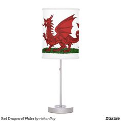 Red Dragon of Wales Desk Lamp.  Sunday Steal: 50% Off Dry Erase Boards, Clipboards & Desk Lamps USE CODE: ZSUNSTEAL182 Offer is valid through June 11, 2017 11:59PM PT.  #Zazzle #Sunday_steal #desk_lamp #table_lamp #lamp #dragon #red_dragon #red_dragon_of_Wales #Welsh_dragon