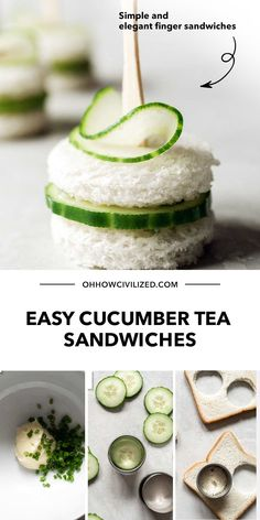 These bite-sized cucumber tea sandwiches are tasty and perfect for tea time. Get step-by-step directions on how to make these simple and elegant finger sandwiches. Click to get started! High Tea Sandwiches, Cucumber Tea Sandwiches, Finger Sandwiches, Sandwich Recipes, Snack Recipes, Hot Tea Recipes, Tea Time Snacks, Best Tea, Afternoon Tea