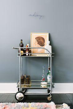 Living Room, Bar Cart | Black Lacquer Design