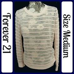 """Sz M Peach Forever 21 Sheer Sweater Excellent Condition, worn 1 time... 100% Polyester 