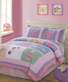 Sleep in a flowerbed with this garden-theme quilt set. Handcrafted from super-soft materials, it's the perfect place to doze with the dahlias. Includes quilt, two shams and bed skirtTwin: includes quilt, sham and bed skirtAvailable in three sizesFace and fill: 100% cotton