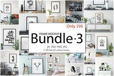Frame Mockup Bundle Vol 3 by Yuri-U on creativemarket, PSD mockups, poster mockups,
