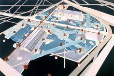 Bernard Tschumi award-winning project for Parc de la Villette, Paris, Architecture Mapping, Paper Architecture, Chinese Architecture, Architecture Drawings, Contemporary Architecture, Architecture Details, Rem Koolhaas, Zaha Hadid, Pick Up
