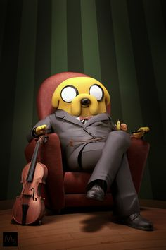 An Adventure Time's fan art with Jake the dog sitting in a chair with his violin. Made during my free time. Lot of fun during this short work ! Adventure Time Cartoon, Adventure Time Anime, Adveture Time, Adventure Time Wallpaper, Land Of Ooo, Finn The Human, Jake The Dogs, Fanart, Cute Pokemon