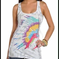 Country Western Tribal feather Indian Splendid Top Supper cute retro look. Very unique neon fringe tank top tie-dye with gray and white. Sold as is Has little holes around painted feathers. But still cute. LF look Western Tops Tank Tops