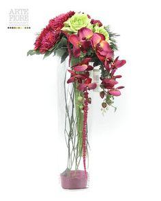 Composizione floreale fiori artificiali in tessuto: Bouquet di Orchidee in vaso vetro