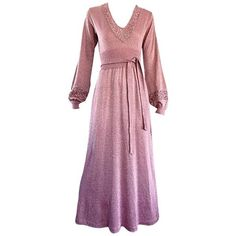 Preowned Beautiful 1970s Pink Lurex Jersey Crochet Long Sleeve Belted... ($725) ❤ liked on Polyvore featuring dresses, pink, purple cocktail dresses, pink long sleeve dress, long sleeve dress, evening dresses and pink maxi dress