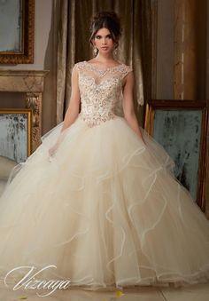 Pearl and Crystal Beading on Flounced Tulle Ball Gown #89116 - Joyful Events Store