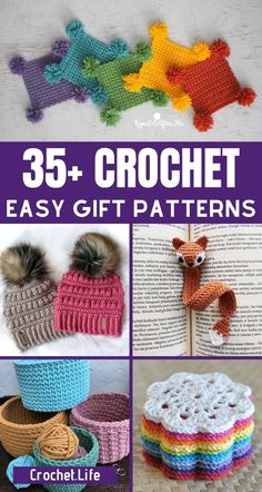 Whip up one or all of these crochet gift ideas to add to stockings, gift baskets, or gifts for any holiday or occasion! This list has tons of great easy crochet patterns you are going to love making for your friends and family. #CrochetPatterns #Crochet #Crocheting #CrochetGifts #Gifts #HandmadeGifts Crochet Infinity Scarf Pattern, Easy Crochet Patterns, Crochet Ideas, Crochet Mug Cozy, Crochet Dishcloths, Quick Crochet Gifts, Crochet Things, Easy Crochet Bookmarks, Crochet Christmas Stocking Pattern