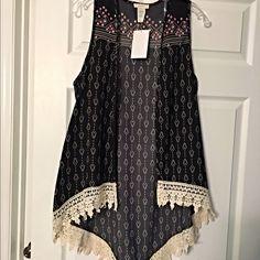 Darling vest crochet asymmetrical kimono! Gorgeous design- black with pretty cream crochet and pink design! Jackets & Coats Vests