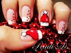 Santa Cap Christmas Nail Art For Short Nails Design - Cute Christmas Nail Art For Short Nails