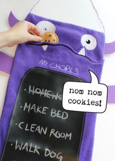 This chore monster is so cute!  I want to make one.  Maybe to help my boyfriend to do chores?  Haha.  He probably won't be motivated by a felt cookie...