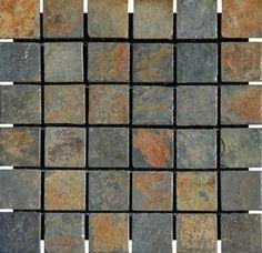 "China Multi Color Tumbled Slate Mosaic Tiles 2"" x 2"" - modern - Floor Tiles - Mosaictiledirect"